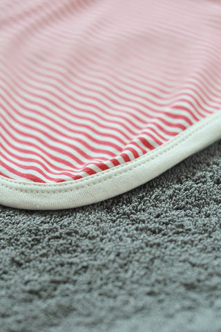 Red Striped unisex receiving blanket in organic cotton