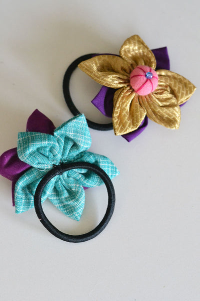 Purple Assorted Flower Hair Tie - Set of 2