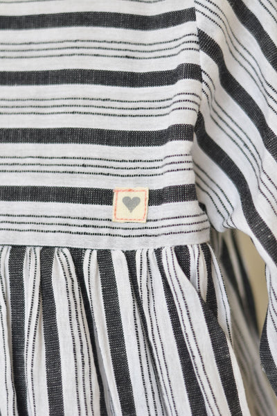 'Kimono' - a classic LTWT design in Handwoven Cotton Black and White Stripes