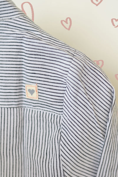 'Barefoot Boy' - Classic Chinese Collar Shirt in Handwoven Cotton Black and White Stripes
