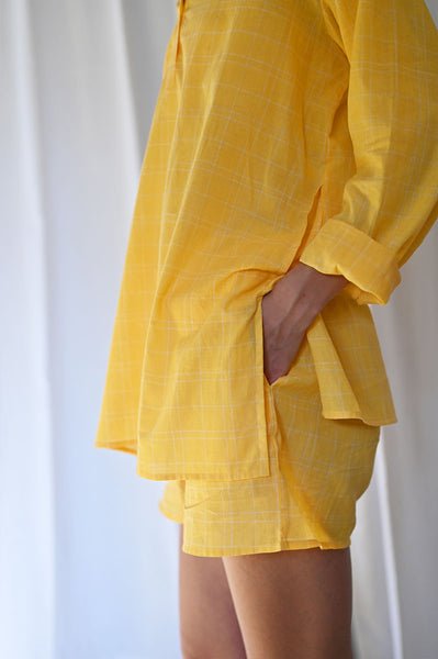 'Sleepover Party' Kurta and Shorts Coord Set in Yellow Checks - Grown up version