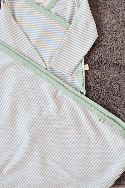 Mint blue striped unisex receiving blanket in organic cotton