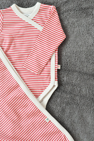 Red Striped unisex full sleeve kimono onesie in organic cotton