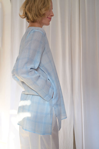 'I want to be like Grandpa' Kurta Pyjama set in Blue Checks - Grown up version