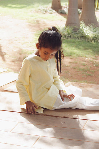 'I want to be like Grandpa' Kurta Pyjama set in Yellow Stripes