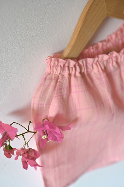 'Sleepover Party' Kurta and Shorts Coord Set in Pink Checks