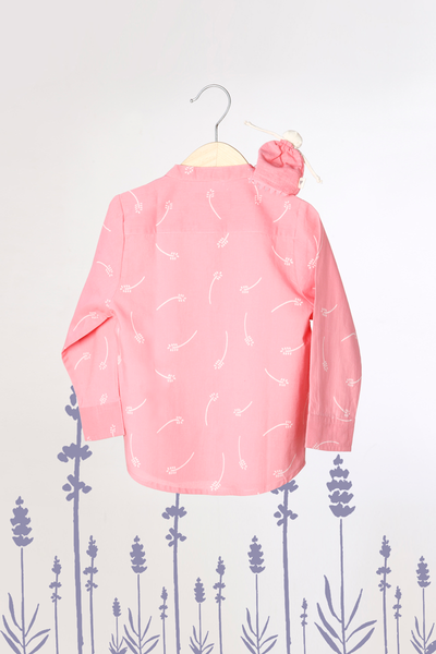 'Barefoot Boy' - Chinese Collar Shirt in Pink with White Floral Print
