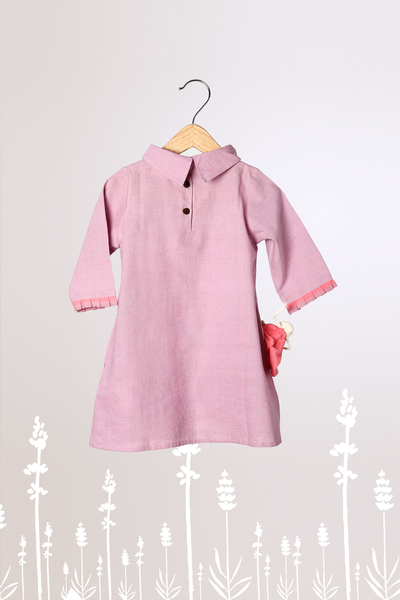 'Lavender Fields' - Full Sleeve Reverse Collar Lavender Dress