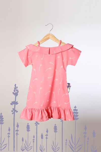 'Frolick across the field'- Off Shoulder Dress in Organic Cotton Pink with Floral Print