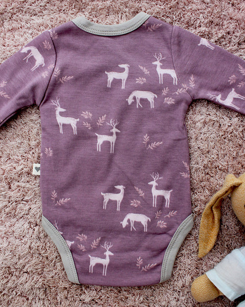 Lilac 'Deer' unisex full sleeve kimono onesie in organic cotton