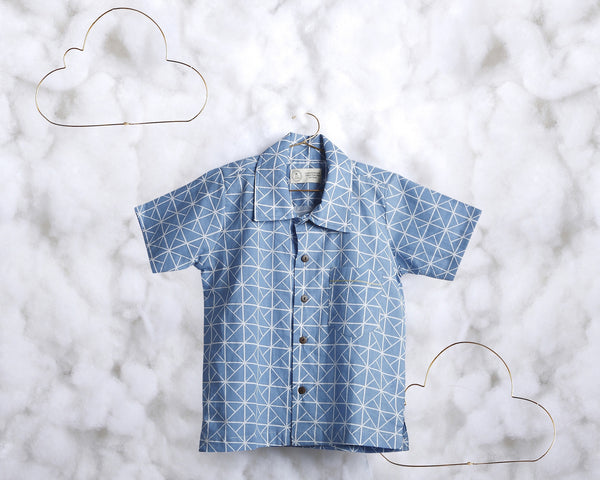 'All Square Blue' short sleeve shirt