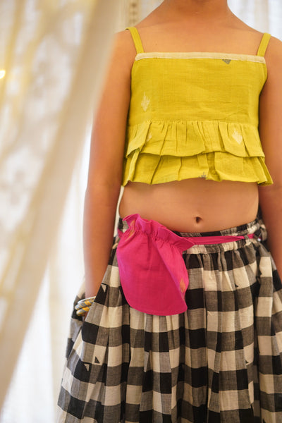 'A little heart, a little star and a rhombus!' lehenga and crop top set with fanny pack