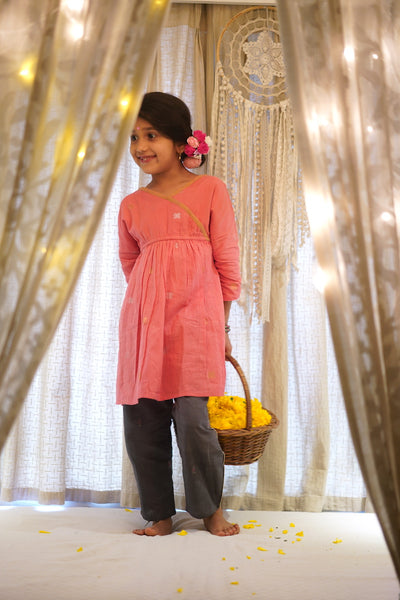 'Wrapped in fairy lights' salmon pink kimono kurta with pants