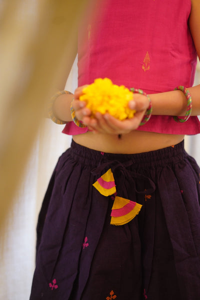 'A little heart, a little star and a rhombus!' short lehenga and top