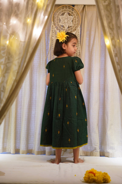'Love, share and care' puffed sleeve bottle green dress