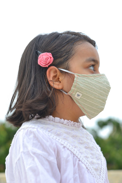 Sage Green Striped Handwoven Cotton Mask