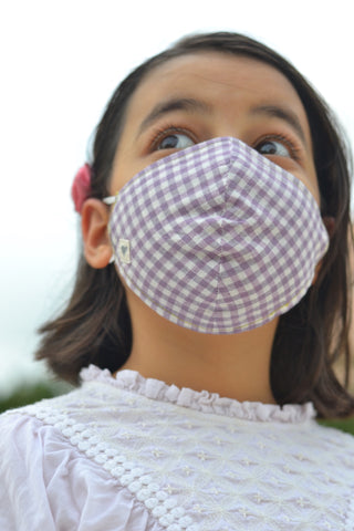 Lavender Checks Handwoven Cotton Mask