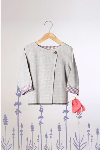 'Daybreak like Opera' - Unisex Reversible Jacket in Lavender Checks and Grey Stripes