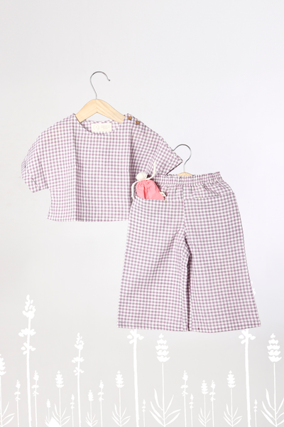 'A Whiff for Miles' - Co-Ord Crop Top Set with Pants in Lavender Checks