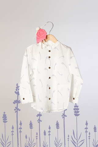 'Barefoot Boy' - Chinese Collar Shirt in White with Lavender Floral Print
