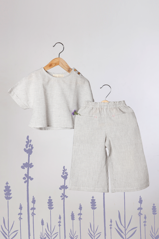 'A Whiff for Miles' - Co-Ord Crop Top Set with Pants in Grey Stripes