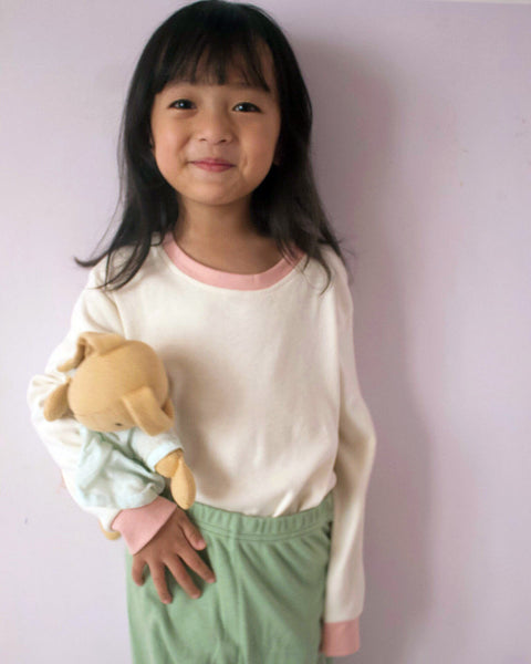 'Sea green and soft pink' unisex sleepwear tee and pyjama set in organic cotton