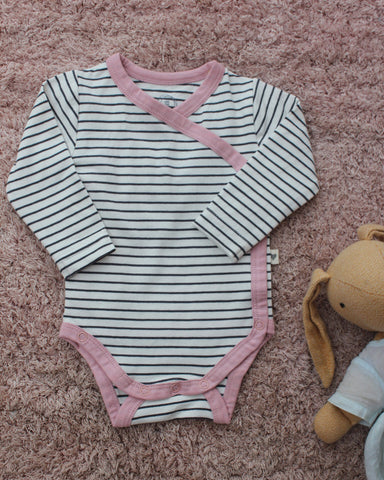 Black and white stripes with pink detailing unisex full sleeve kimono onesie in organic cotton