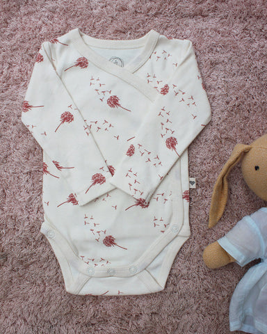 'Brick Red' Dandelion unisex full sleeve kimono onesie in organic cotton