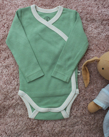 'Sea green' unisex full sleeve kimono onesie in organic cotton