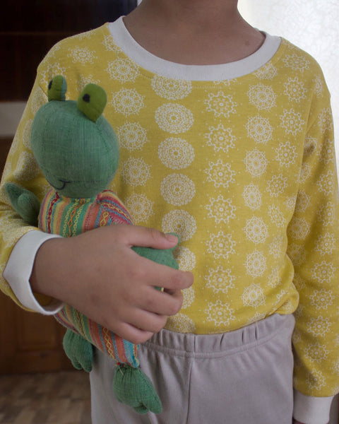 Mustard 'Snowflake' unisex sleepwear tee and pyjama set in organic cotton