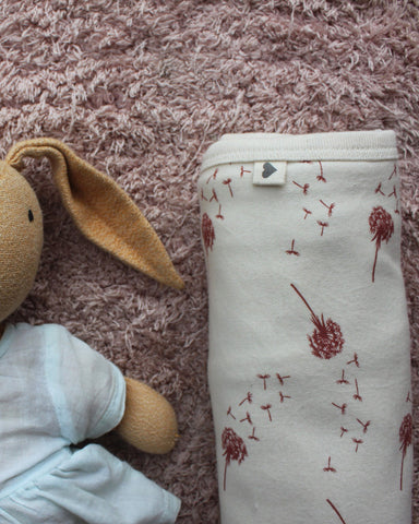 Brick Red 'Dandelion' unisex receiving blanket in organic cotton