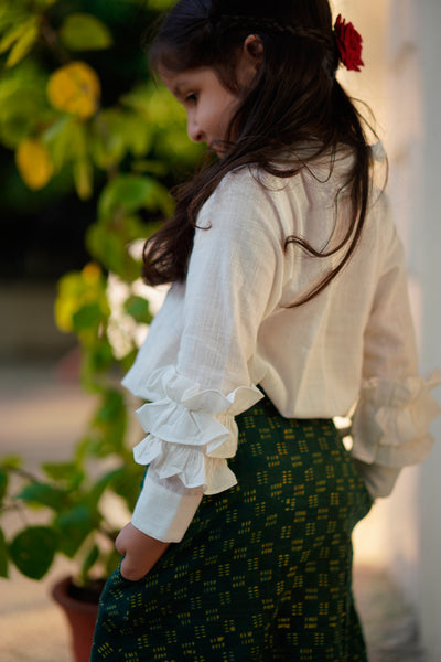 'Stories of magic' Green Checkered Aline skirt and White Ruffled Top