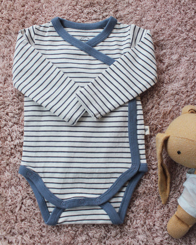 Black and white stripes with blue detailing unisex full sleeve kimono onesie in organic cotton