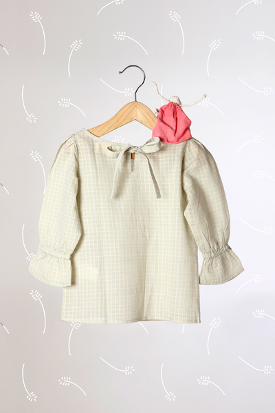 'Charms of Country Life' - Sage Green Checkered Top