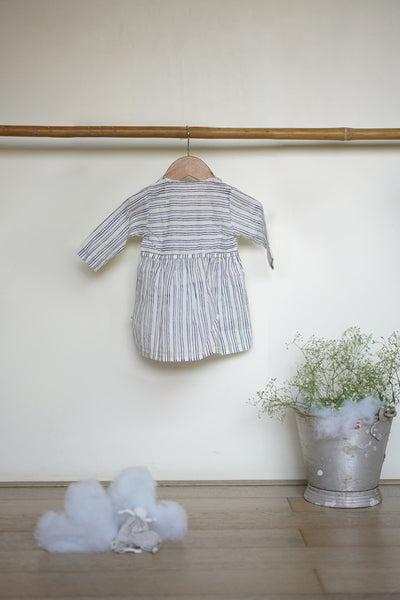 'Walk on air' full sleeves jhabla and bloomers set in blue stripes - (0-6 months)
