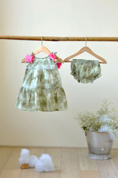 'Song in your Heart' Sleeveless Tiered Dress in Green Tie and Dye - Girls (0-6 months)