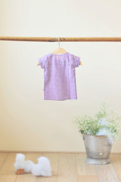 'Happy as a Clam' Big button Tee in Lavender checks - Unisex (0-6 months)