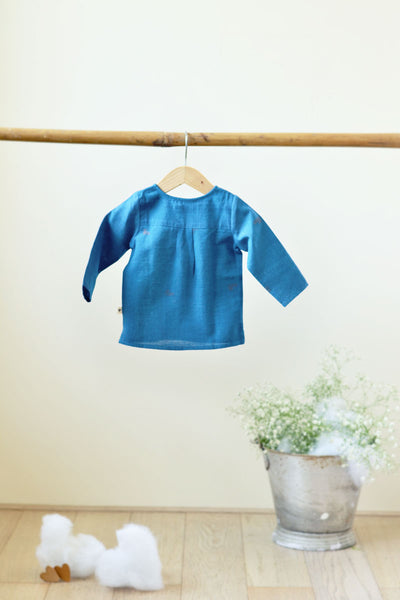 'Over the Moon' with Sleeves - Unisex Blue Handwoven Kurta (0-6 months)