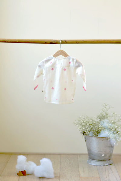 'Over the Moon' with Sleeves  - Unisex Jamdani Kurta (0-6 months)