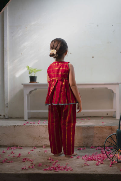 Gulab handwoven angrakha and cropped pant set