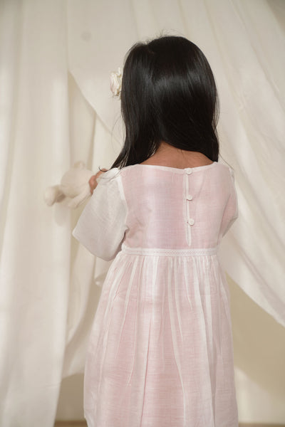 'Marshmallow' Sheer Full Sleeve Dress with Pink Lining