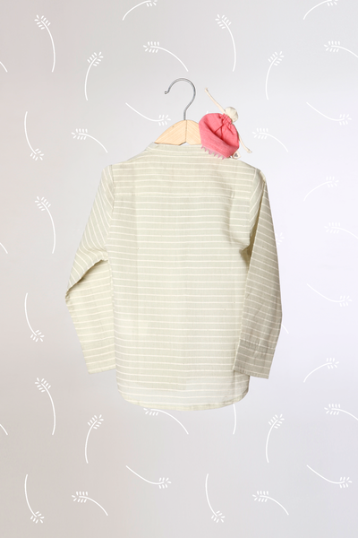 'Barefoot Boy' - Chinese Collar Shirt in Sage Green Stripes