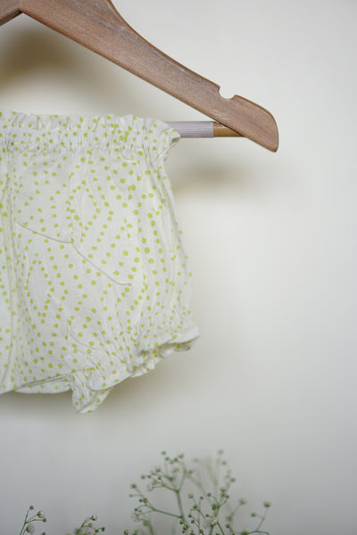 'Walk on air' full sleeves jhabla and bloomers set in green polka - (0-6 months)