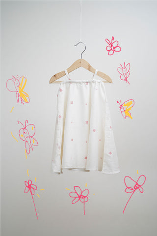 'The Butterfly Chase' in White Pink Jamdani