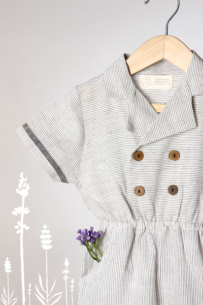 'Work for the Joy of it' - Grey Striped Jumpsuit