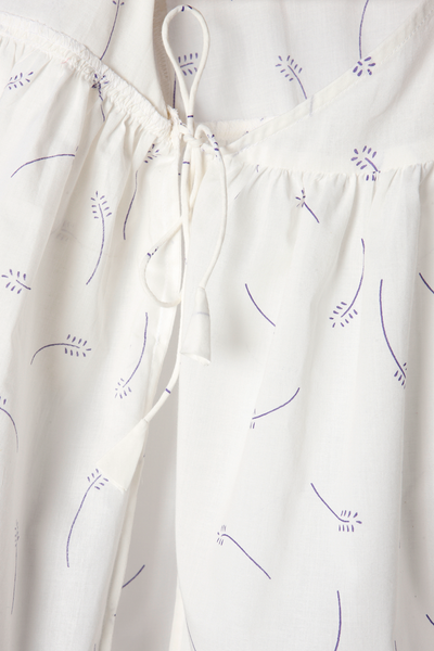 'Mountain Girl' - Kimono in Organic Cotton White with Lavender Floral Print