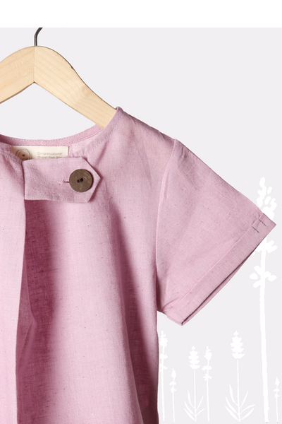 'Lavender Skies' - Unisex Tee with Big Side Button in Lavender