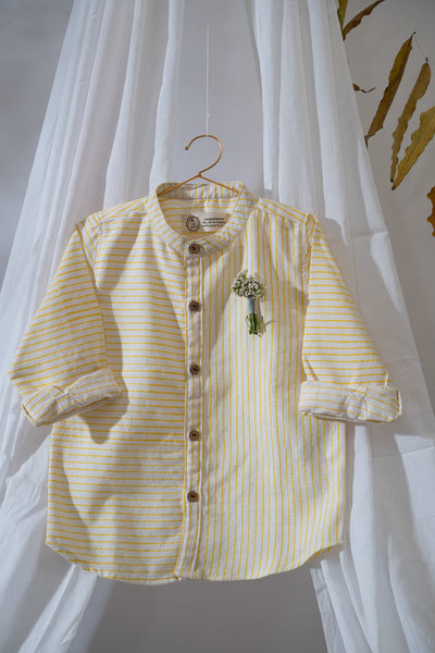 'Little Man's Play Shirt' in Yellow Stripes