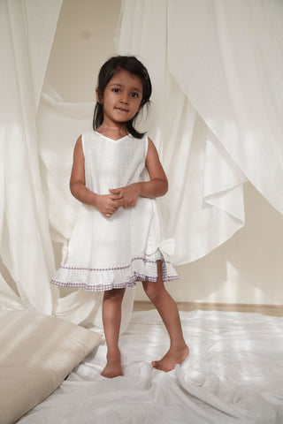 'Crest of a Wave' Slub White Classic Sleeveless Dress with Purple Frill