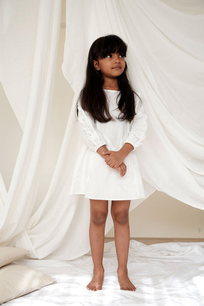 'Vanilla Ice Cream' Slub White Panelled Full Sleeve Dress with Frilly Sleeves